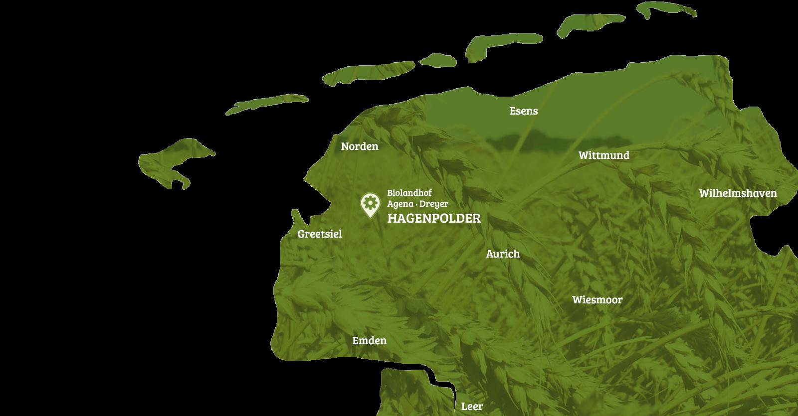 Liefergebiet des Bioland-Hof Agena